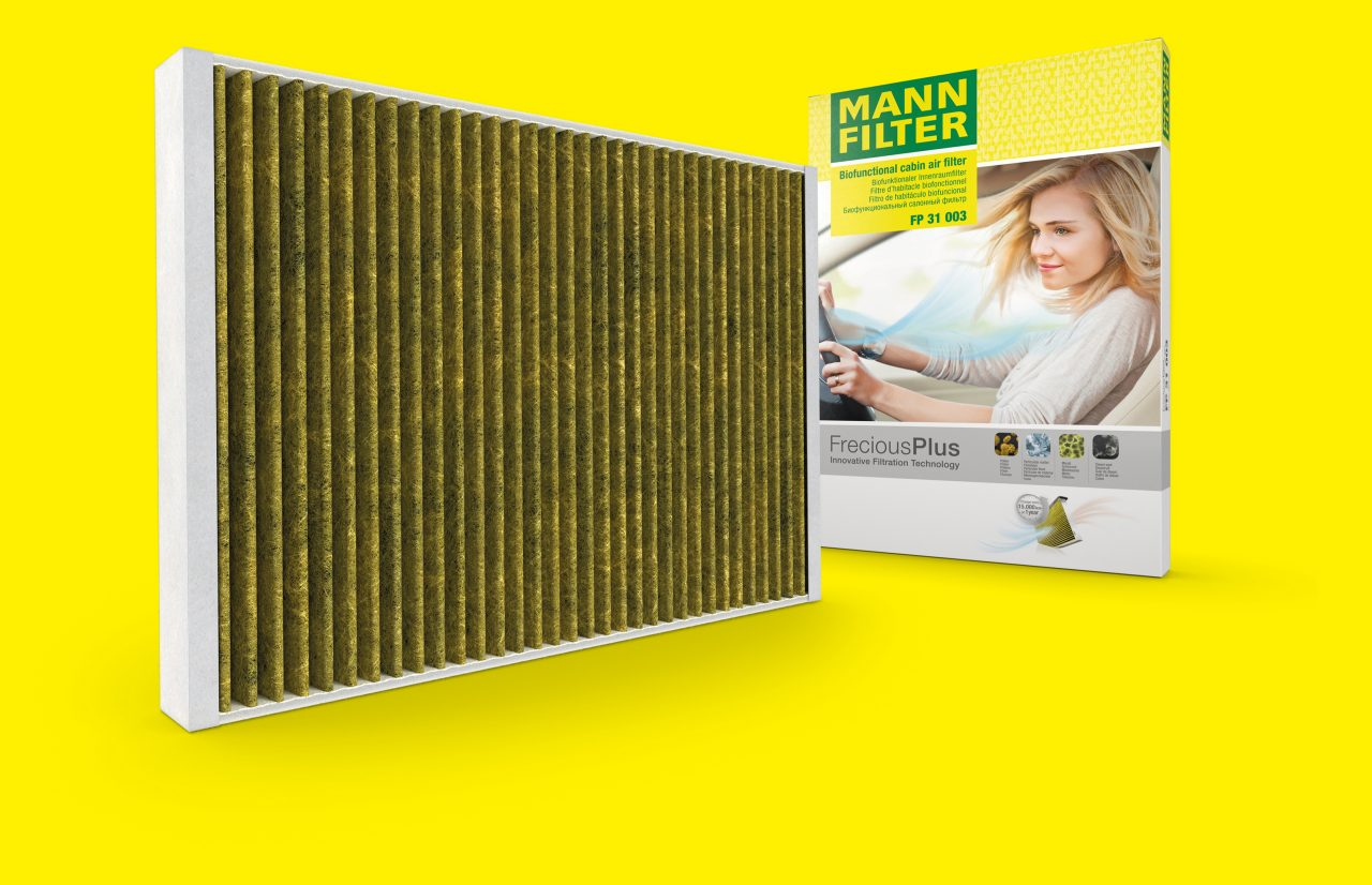 Cabin air filter with biofunctional filter