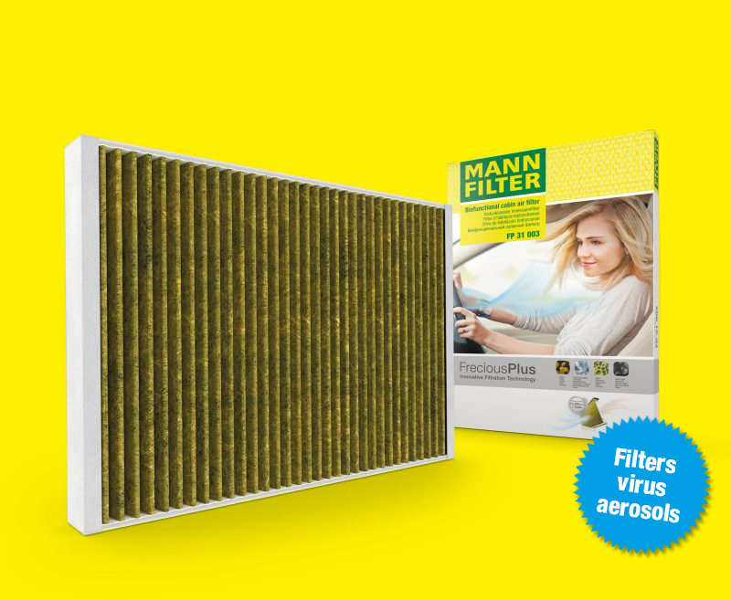 FreciousPlus: biofunctional cabin filter uses an activated carbon layer and polyphenol coating.
